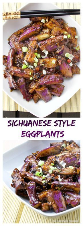 """Szechuan eggplants is a great chinese dish, slightly spicy Sichuanese flavoured recipe. The long asianeggplants have a firmer texture and bolder flavour in comparison with the western world """"…"""