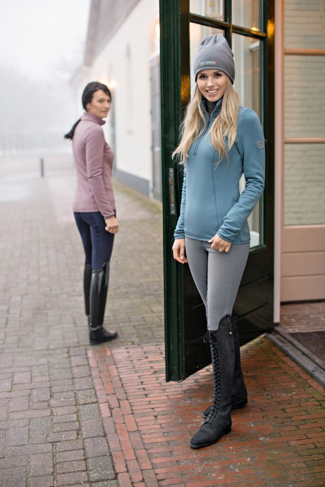 Breeches and front laced riding boots