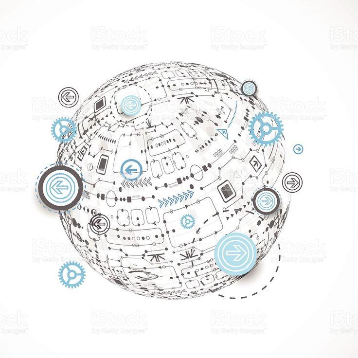 抽象的なテクノロジー、世界各地の背景。 ロイヤリティフリーのイラスト素材