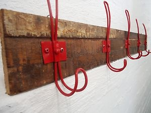 5 Coloured Coat Hat Hooks on Unique Rustic Distressed Timber Board - Red   eBay