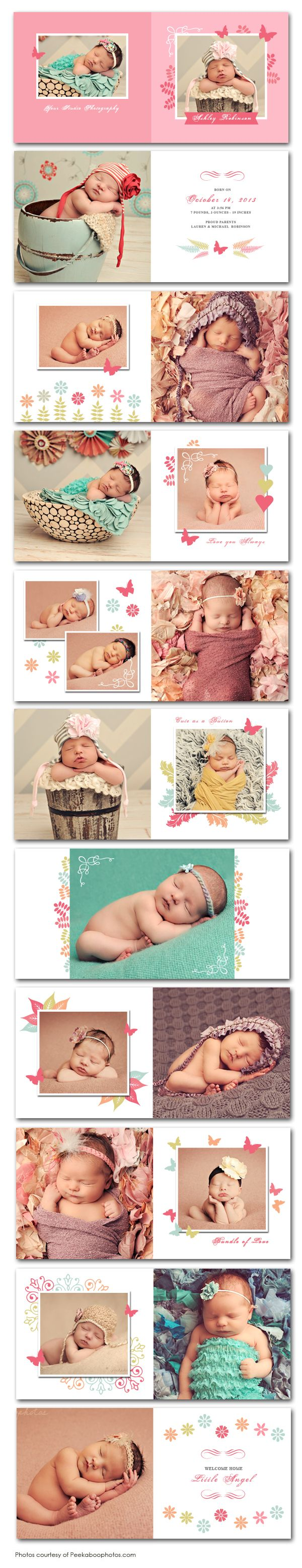 Butterfly Garden Newborn Photo Album Template