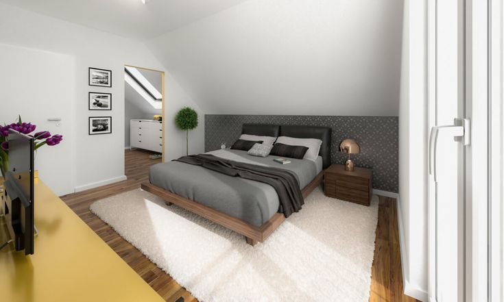 Modern Bedroom With Sloping Roof Ideen Inneneinrichtung Haus