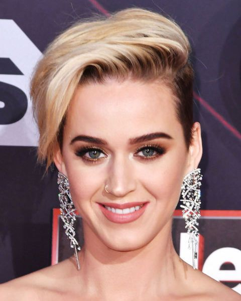 Short brunette sides meets a platinum blonde ice cream top for Katy Perry's latest foray into short hair.