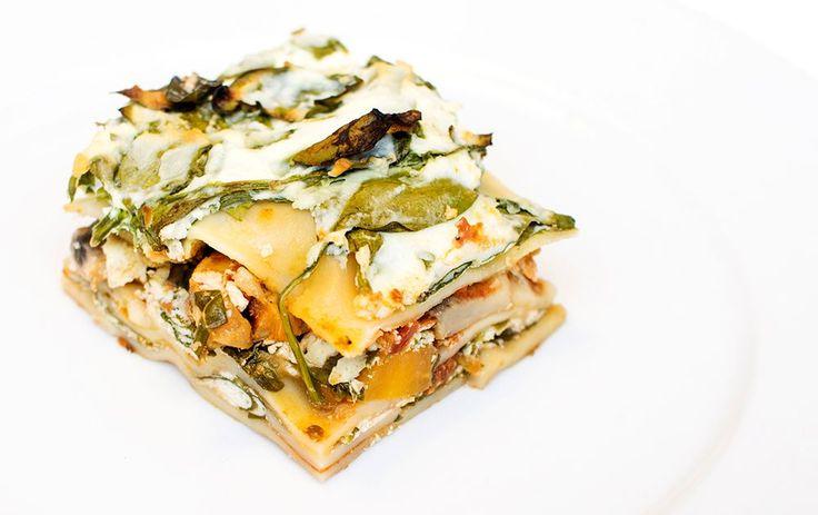Vegetarlasagne med sopp og spinat