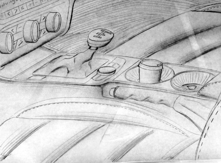 Sketch depicting Maksimatic Cup Holder within center console of MK2 Audi TT.