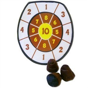 """Doodie Darts Game: Velcro Poop Classic Fun Toss and Stick Points Toy by Island Dogs. $15.49. Nobody stinks at this game!  Players take aim with the 3 Velcro® """"poo piles,"""" tossing them at the toilet seat-shaped target, earning points for the piles that stick.  Once someone gets to 50 points, the round is complete--or, create your own Doodie Darts rules for loads of laughter.  12"""" diameter."""