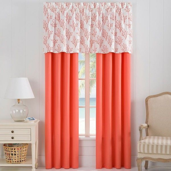 Isla Window Treatments in Coral ($30) ❤ liked on Polyvore featuring home, home decor, window treatments, curtains, window valances, window curtains, coral home decor and coral home accessories