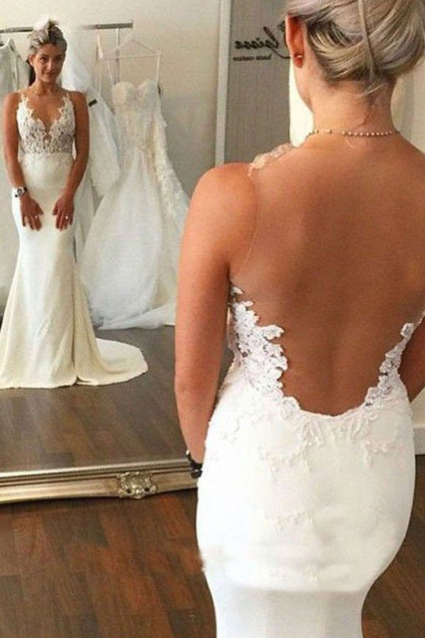 Lace See Through Mermaid Wedding Dresses, 2017 Backless Long Custom Wedding Gowns, Affordable Bridal Dresses, 17113