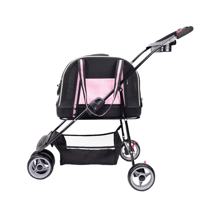 IBIYAYA DOUBLE FUN PET CARRIER STROLLER PRAM - LOVE PINK