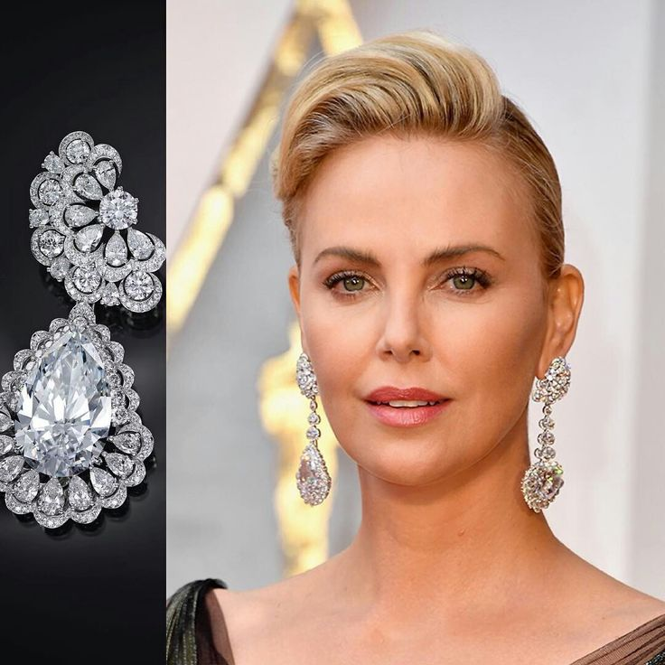 @vo_plus.   A 25ct. pear-shaped and a 26ct. heart-cut D flawless diamonds of the Garden of Kalahari collection @chopard made Charlize Theron of an unprecedentedly extraordinary beauty. #charlizetheron #diamonds #luxury #chopard #earrings