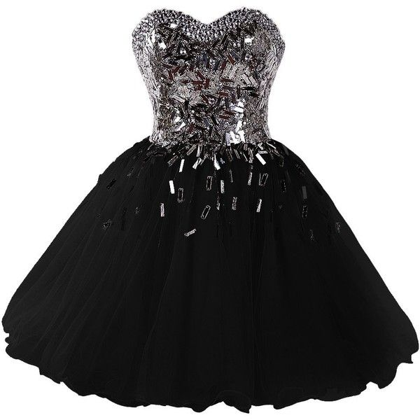 Amazon.com: Dressystar 2015 Sweetheart Party Ball Gowns Sparkling... (£66) ❤ liked on Polyvore featuring dresses, sweetheart homecoming dresses, party dresses, black sparkly dress, going out dresses y sweetheart dress