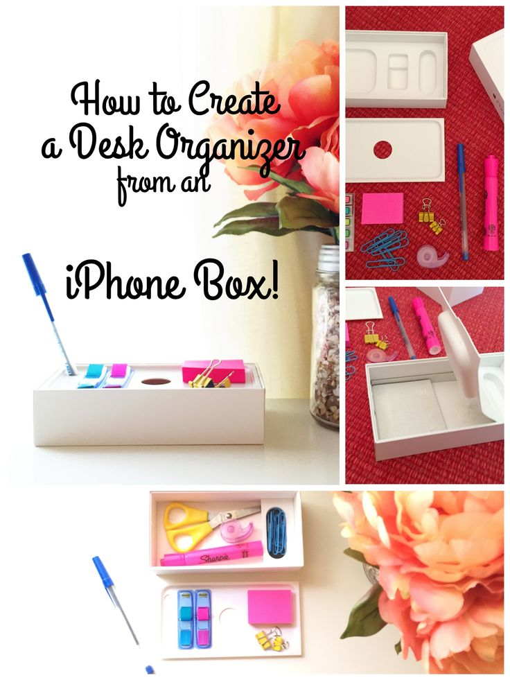 How to Create a Desk Organizer from an iPhone Box! (And Bonus Coupon/Receipt Organizer) | UncommonGrad...desktop organizers that serve as a one stop place for pens, sticky notes, and more, but also have a built-in shelf and can close for easy transport (homework stations and college dorms anyone?)