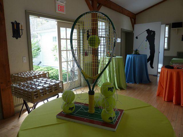 tennis centerpiece mitzvah by The Prop Factory, via Flickr