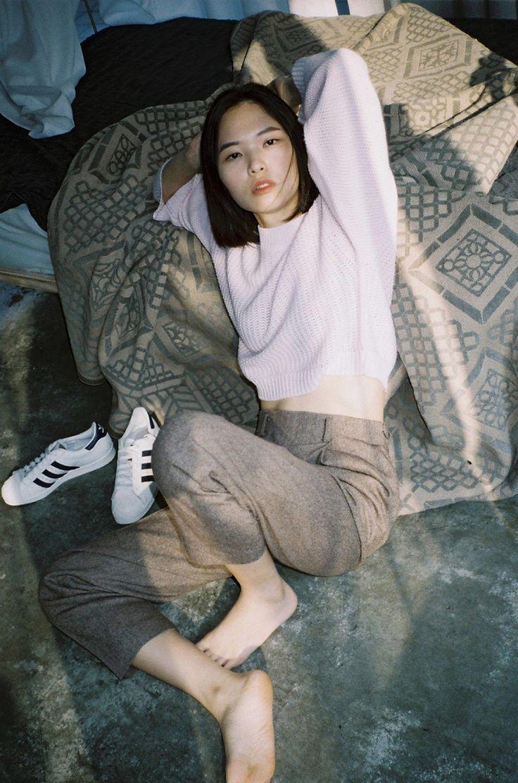 Street style // pale pink sweater // brown tweed trousers // Adidas Superstar…