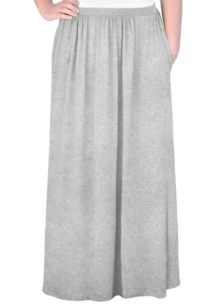 * Deep, hidden side pockets! * Long, gently flared maxi skirt works for everyday and for dressing up * Covered elastic waistband and loose cut gives lots of flexiblity in sizing