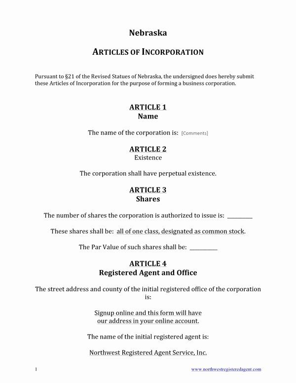 Certificate Of Organization Nebraska Template Awesome Free Nebraska Articles Of Incorporation Template Business Document Template Templates Nebraska