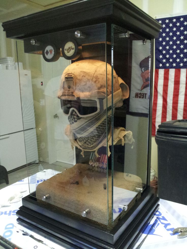 Custom Floating Military Bust Display Cases With Mini