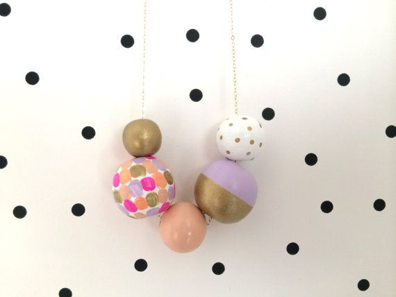 No. 39 // Hand Painted Wooden Bead Necklace by shoplulapearl