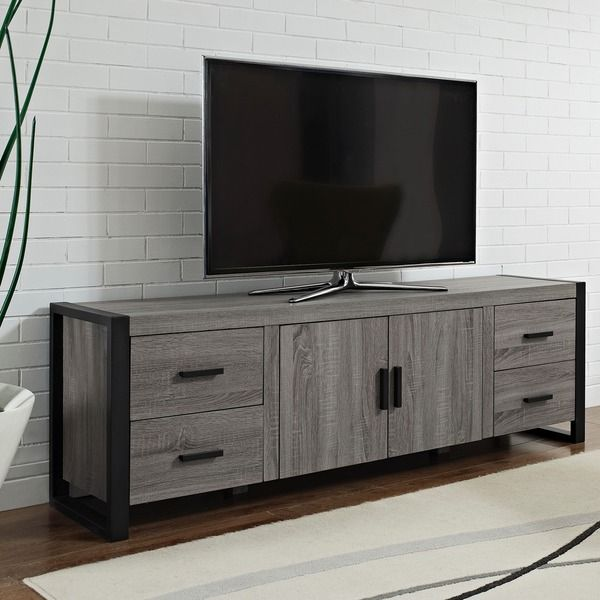 379.00 - 70-inch Urban Blend Ash Grey Wood TV Stand - Overstock™ Shopping - Great Deals on Entertainment Centers
