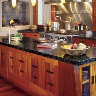 Craftsman style cabinets black granite stone countertop in for Kitchen cabinets zen