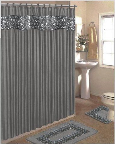 Popular Bath Sinatra Bling Jacquard Silver Grey Fabric Shower Curtain Rings Area Rug And Contour