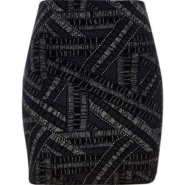River Island Black sparkle mini skirt ($13) ❤ liked on Polyvore featuring skirts, mini skirts, river island, saias, sale, fitted mini skirt, short skirts, fitted skirts, short mini skirts and party skirts
