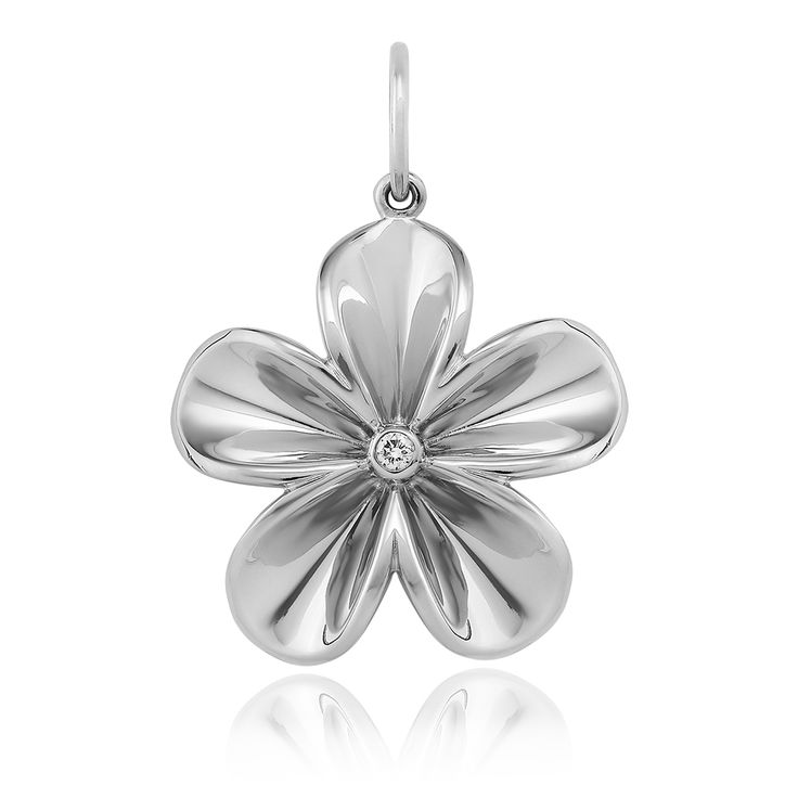 Fleura Pendant Glossy. Glossy 925 sterling silver with white rhodium plating. 1 brilliant diamond 0.035 carat (full cut).