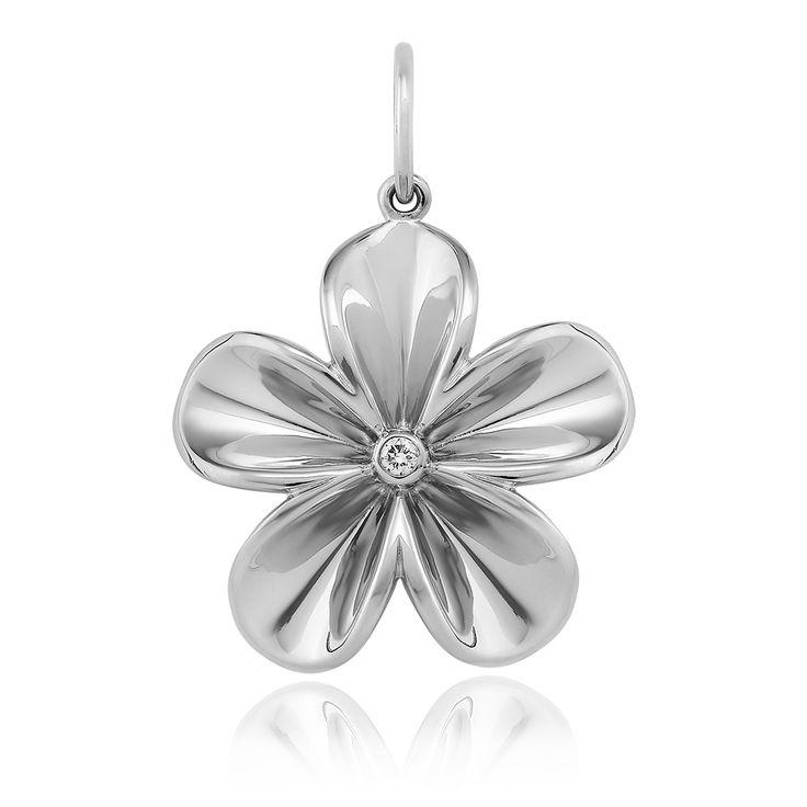 Fleura Pendant Glossy. Glossy 925 sterling silver with white rhodium plating. 1 brilliant diamond 0.035 carat (full cut).