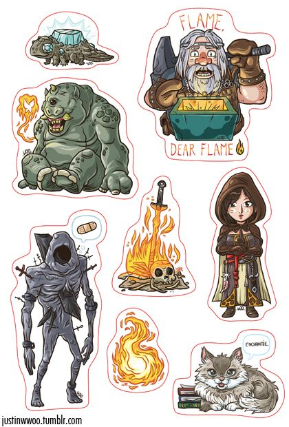 Dark Souls 2 Stickers! Making some new things for my Otakuthon table at the end of August. These were fun to draw! I think I might make a set for Demon's Souls and the first Dark Souls.