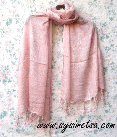 Beautiful Light Old Rose Linen and Viscose Scarf, Linen Scarf, Lightweight Light Old Rose Scarf, Old Rose linen-viscose Scarf, Boho