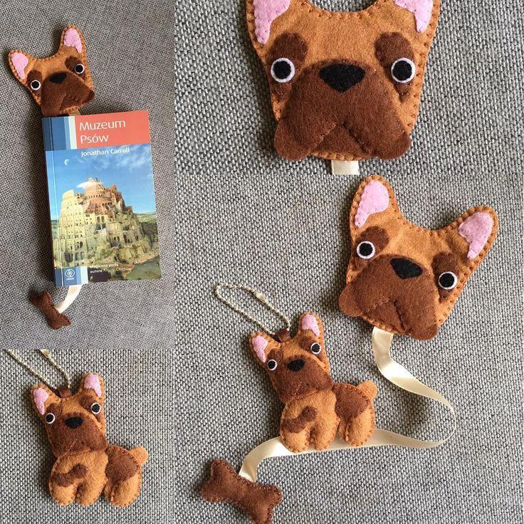 Buldog francuski #zakladka #zakladkadoksiazki #bookmark #kochamczytać #brelok #breloczek #filc #szycie #design #nasprzedaz #sprzedam #robotkireczne #handmade #buldog #buldogfrancuski #pies #frenchbulldog #instacraft #niezchinzpasji #kosc #forsale