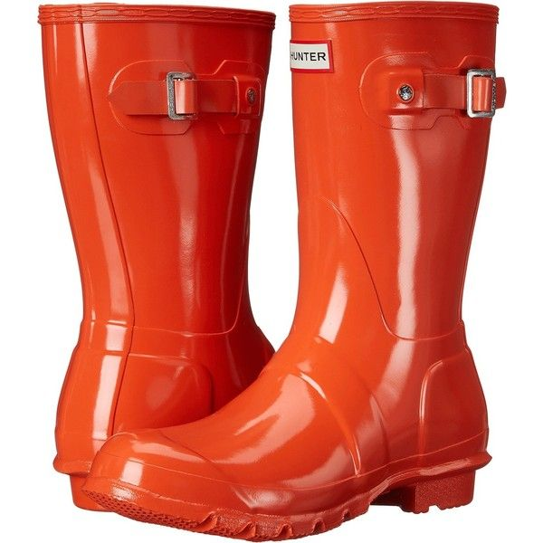 Hunter Original Short Gloss (Tent Red) Women's Rain Boots ($85) ❤ liked on Polyvore featuring shoes, boots, mid-calf boots, orange, red boots, mid calf boots, wellies boots, short rain boots and orange boots