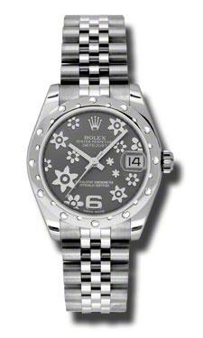 Rolex Datejust Floral Rhodium Dial White Gold Diamond Bezel Ladies Watch 178344RFJ