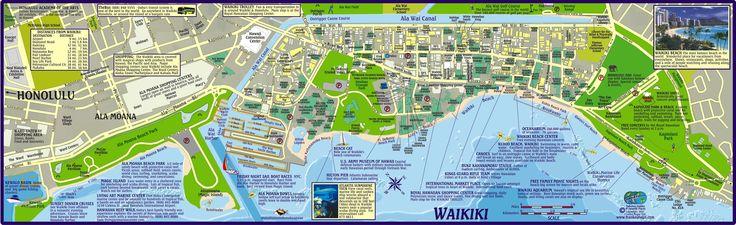 Waikiki Beach Map Hotels Travels Hawaii Pinterest