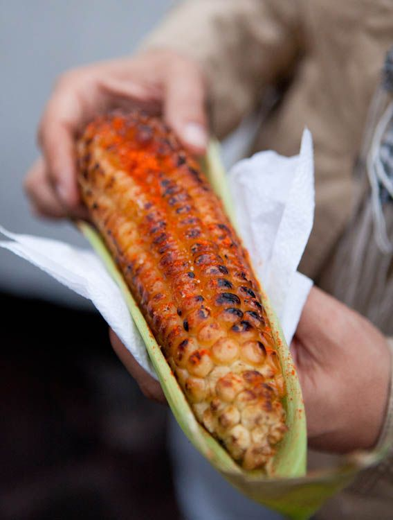 corn roasted  with chili   from a street vendor in Mexico