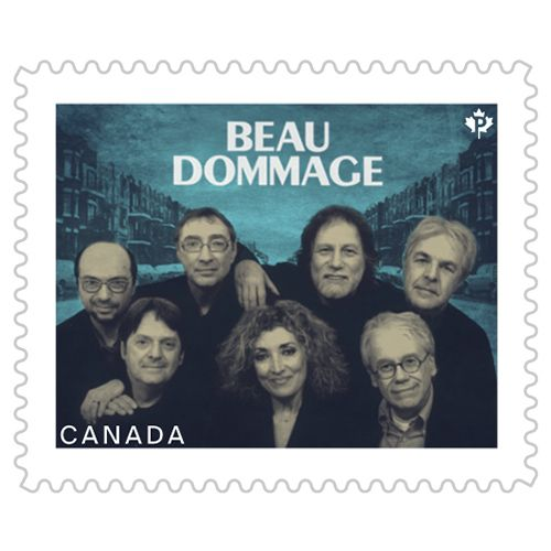This stamp featuring Beau Dommage is the latest issue in Canada Post's ongoing series honouring Canadian recording artists. / Rendez hommage à l'un des grands groupes de la musique québécoise en vous procurant ce carnet de 10 timbres consacré à Beau Dommage.