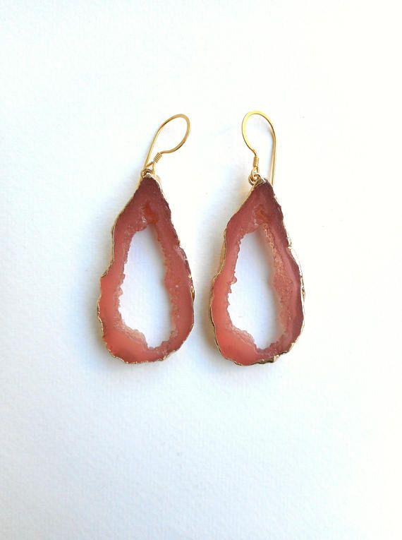 Druzy resin earrings Gold Electroplated Druzy Bohemian