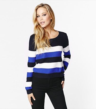 #DYNHOLIDAY Stripe a pose! This cropped crew neck sweater will add a pop of color to your look!