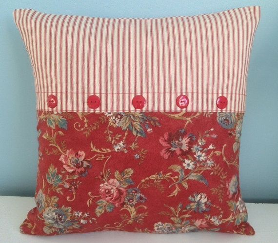 French country pillow cover. Designer Ralph Lauren red floral. Ticking. 18x18. Country cottage. Handmade. Cotton. Toss pillow. Throw pillow.