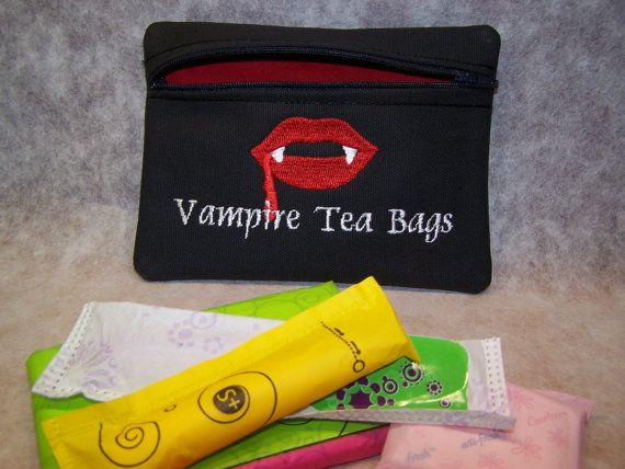 Vampire Tea Bags Tampon & Maxi Pad Bag Zippered Fabric Purse Pouch / Tampon Keeper on Etsy, $11.95