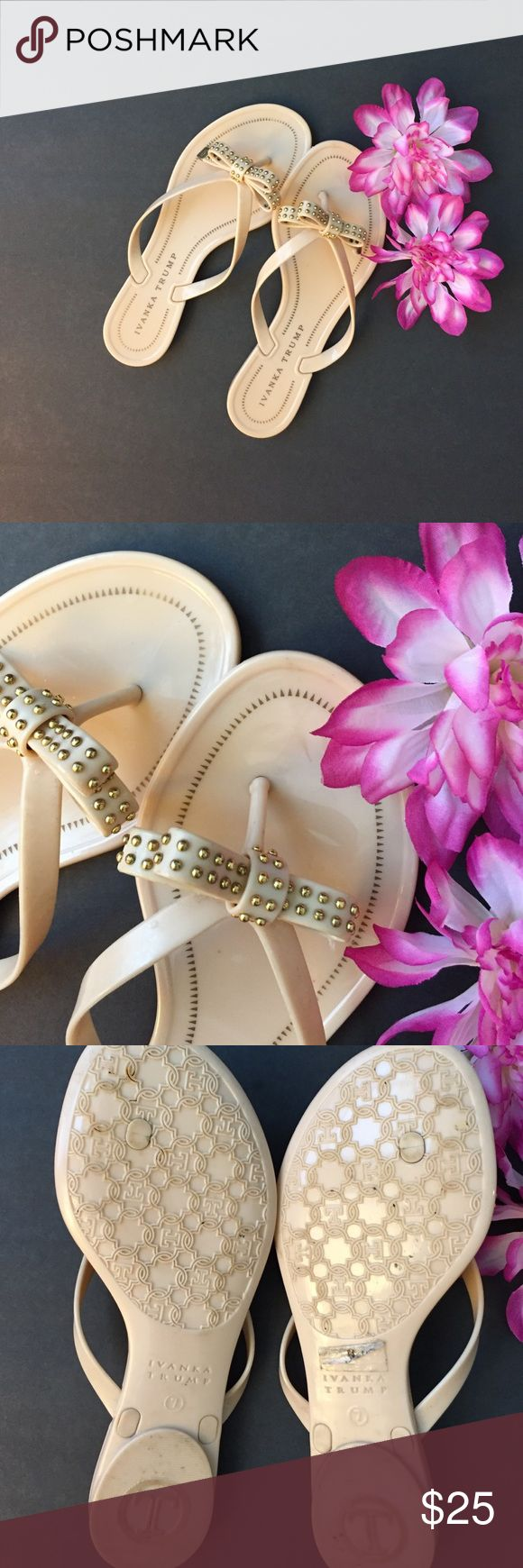 Slippers Nude slippers with delicate gold detailing. Water resistant. Ivanka Trump Shoes Slippers