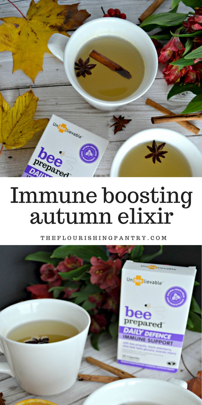 Immune Boosting Elixir for Autumn  I've paired the pumpkin with lots of other lovely flavours which all combine with the power of the Unbeelievable supplements packed with their bee propolis, black elderberry, olive leaf, acerola cherry and beta glucans, to give your system a boost.  This elixir tastes absolutely delicious, I'd love to know if you make a batch once you've carved your pumpkin and get curled up in front of the fire.  Vegan recipe, gluten free and dairy free