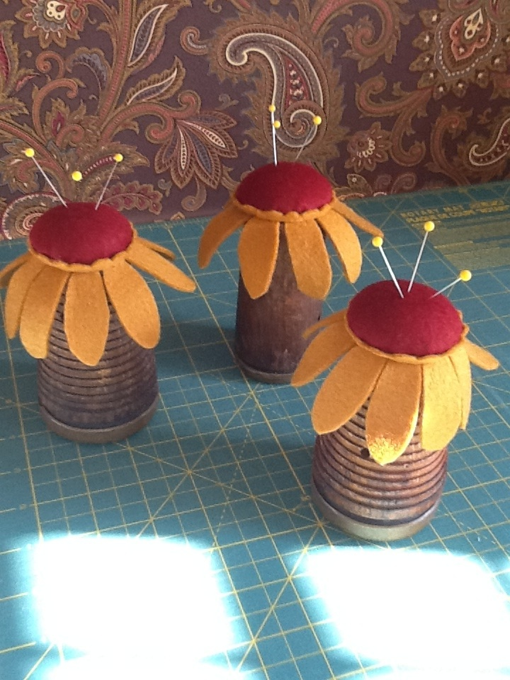pincushions from old spools