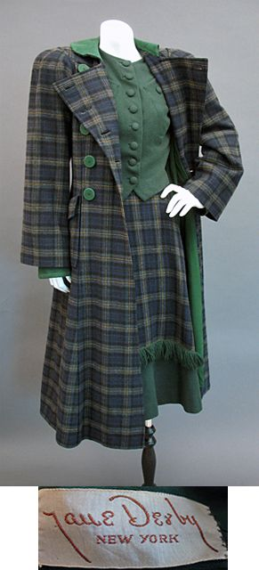 Mid 1940s 3 piece Suit by Jane Derby, Gallery of Past Treasures at Past Perfect Vintage Clothing