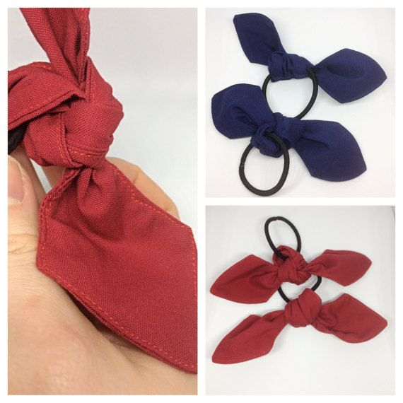 These are a hand made set of two knot bow hair tie sets! 2 for $5!  I have been sewing for over a year, selling these at craft fairs and have decided to include this item in the shop!  The knot bow hair tie is great for all ages! The solid colors make for great sports team accessories for youth sports, high school sports and cheerleading as well!
