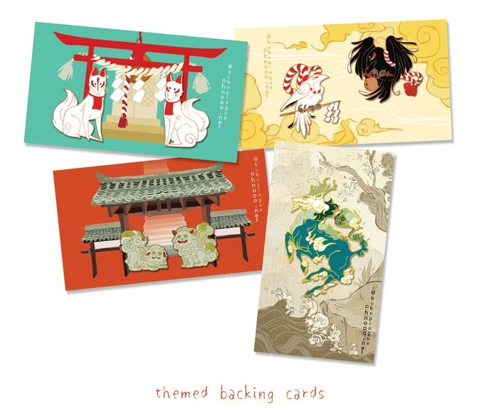 Yatagarasu - heavens; Koma Inu - Buddhist temple; Inari Kitsune - Shinto shrine; Kirin - scroll painting