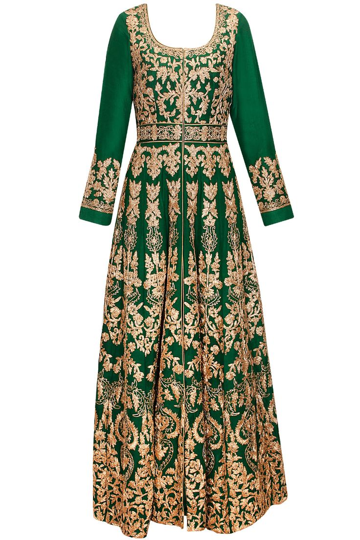 Fir green heavily embroidered anarkali set  by Aneesh Aggarwal. Shop now: www.perniaspopupshop.com. #anarkali #aneeshaggarwal #embroidered #clothing #shopnow #perniaspopupshop #happyshopping