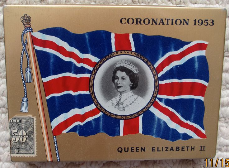 Export flat 50 cigarette tin commemorating  1953 coronation of Queen Elizabeth