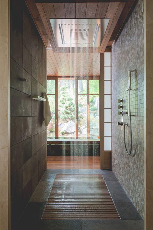 Pluie sur douche italienne SPA design