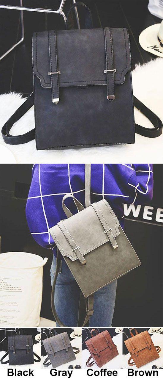 Retro Matte Square PU Metal Lock Match Large Scrub College Backpack for big sale! #retro #pu #lock #metal #square #backpack #Bag #college #school #student #rucksack #leisure #travel #girl